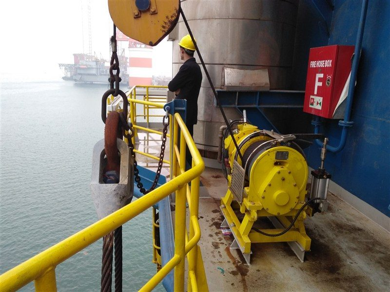 Offshore air driven winches